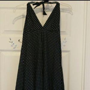 GAP Polka Dot Backless Halter Dress,Navy/White…